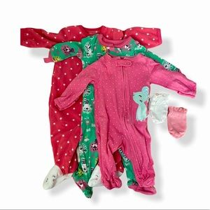 Carters Baby Girl Pink Onesie PJ set with mittens